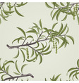 seamless texture willow branch with catkins vector image vector image