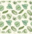 seamless tropical palm leaves pattern vector image