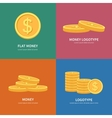 Set flat pile of coins logos with colorful vector image vector image