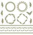 set of green olive branch logo and ornament vector image