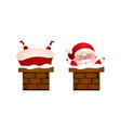 set of happy santa in the chimney vector image vector image