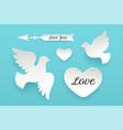 set of paper objects heart pigeon bird arrow vector image vector image