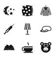 sleep symbols icon set simple style vector image vector image