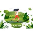 sporty girl skating in park vector image vector image