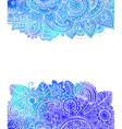template with doodle flowers and blue watercolor vector image vector image