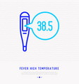 thermometer with high temparature thin line icon vector image