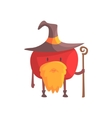 Tomato In Magician Costume With Staff And Beard vector image vector image