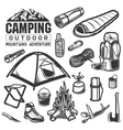 Camping and hiking equipment symbols Tent logo vector image