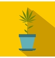 Hemp pot icon flat style vector image