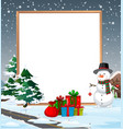 a cold christmas border vector image