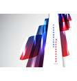abstract perspective blue and red shiny geometric vector image