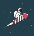 baby astronaut flying on firework rocket vector image vector image