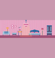 bedroom and its furniture vector image