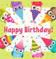 birthday card with cute cartoon colorful owls vector image vector image