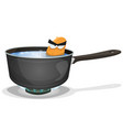 boiling potato inside kitchen pan vector image vector image