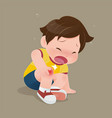 boy suffering from pain in knee vector image vector image