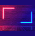 brick wall room background neon light vector image