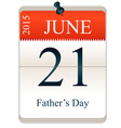 Calendar of Fathers Day vector image vector image