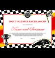 car racing winner certificate races diploma award vector image vector image