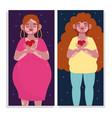 cartoon character women with vitiligo self love vector image vector image