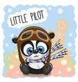 cartoon panda in a pilot hat vector image vector image