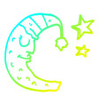 cold gradient line drawing cartoon moon vector image vector image