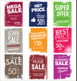 collection colorful grunge sale background vector image