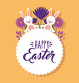 cute white rabbits holding hand flowers happy vector image vector image