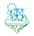 degraded line couple bear animal in the float vector image vector image