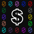 Dollar icon sign Lots of colorful symbols for your vector image vector image