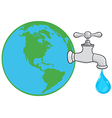 Earth Globe With Water Faucet vector image vector image