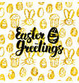 easter greetings handwritten card vector image vector image