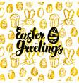 easter greetings handwritten card vector image