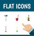 flat icon cleaner set of bucket mop broomstick vector image vector image