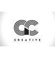 gc logo letter with black lines design line letter vector image vector image