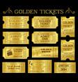 golden ticket templates vector image