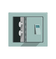 grey metal armored opened safe box safety vector image vector image