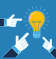hands pointing on lit bulb new idea business vector image vector image