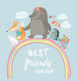 happy animals walking on rainbow vector image vector image