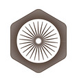 hexagonal shield in brown silhouette with internal vector image