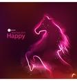 Horse glowing dark background vector image