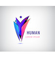 human logo 3 person icons group of people vector image