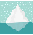 Iceberg Blue water Snow flake in the sky Flat vector image