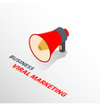 isometric megaphone icon with text viral marketing vector image