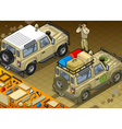 Isometric Safari Jeep in Rear View vector image