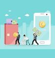 man passes woman money through smartphone online vector image vector image