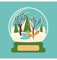 Merry christmas glass ball with fox in the forest vector image vector image