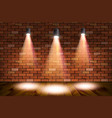 old retro three lamp on grunge brick wall vector image