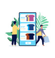 online shopping guy chooses clothes product vector image