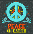 Peace sign with hand lettering flowers and vector image vector image